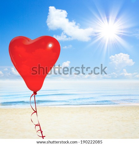 Blue sea and clouds on sky. Beach and tropical sea. Sky background with fluffy white clouds closeup. Retro love balloons on blue sky   - stock photo
