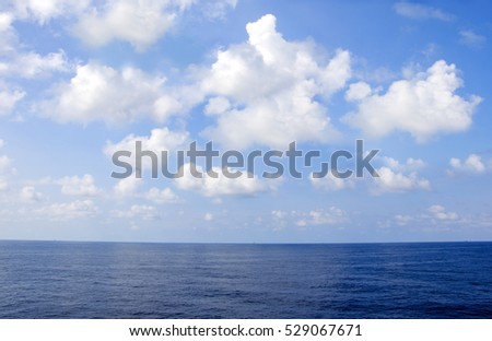 Blue sea and sky clouds at offshore.