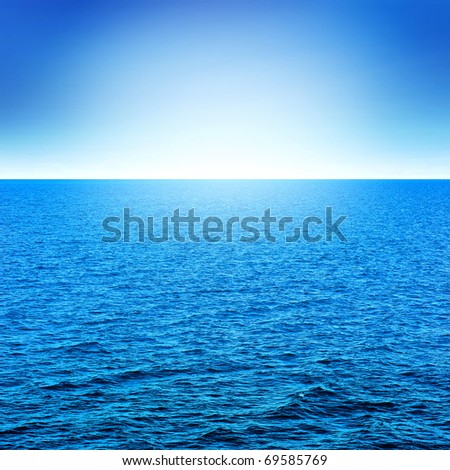 blue sea and sky with sunlight