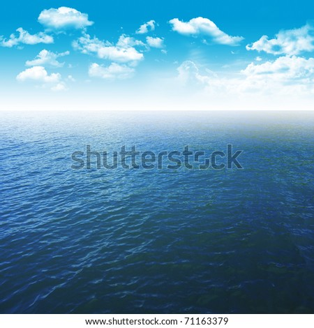 blue sea and sky with sunlight - stock photo