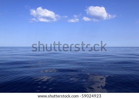 blue sea horizon ocean perfect in calm sunny day mediterranean - stock photo