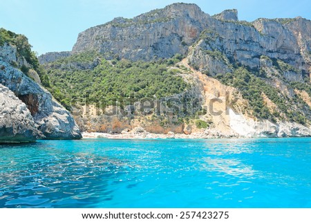 blue sea in Orosei Gulf, Sardinia - stock photo