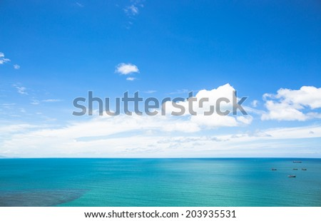 Blue sea in summer - stock photo
