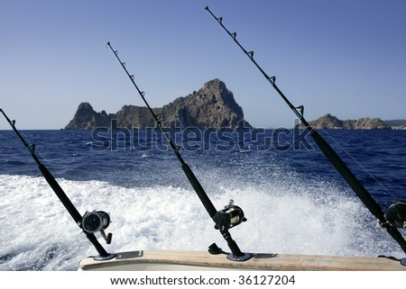 Blue sea Mediterranean view on a big game fishing boat - stock photo