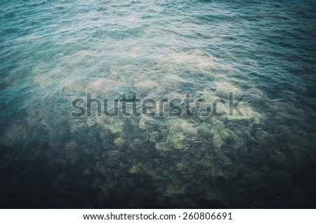 Blue sea nature and the sky in Thailand vintage - stock photo