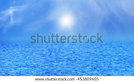 Blue sea, ocean with waves and clear blue sky sun light ray and clouds. - stock photo