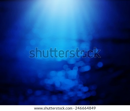 Blue sea with bokeh reflection background - stock photo