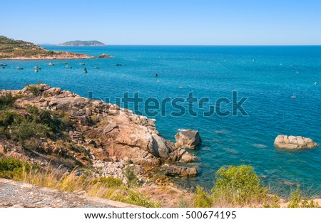 Blue sea with clearly sky at Khanh Hoa province, Vietnam East sea