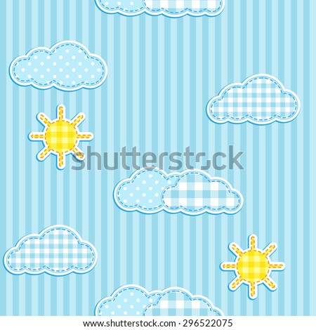 Blue seamless pattern with cute clouds and sun. Raster version - stock photo