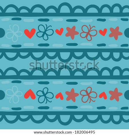 Blue seamless pattern with straight horizontal ornament with butterflies. Raster version. - stock photo