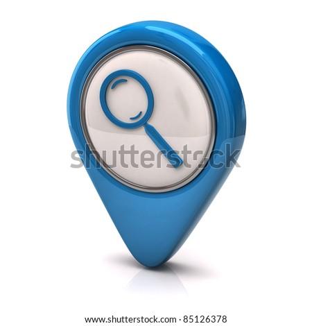 Blue search icon - stock photo