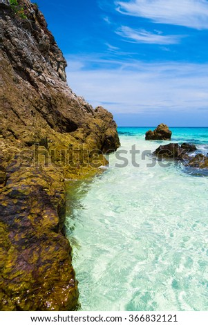 Blue Seascape Big Stones  - stock photo