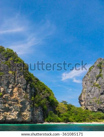 Blue Seascape High Cliff  - stock photo