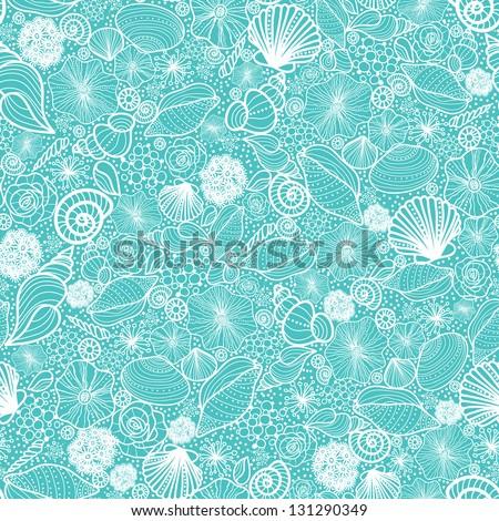 Blue seashells line art seamless pattern background raster - stock photo