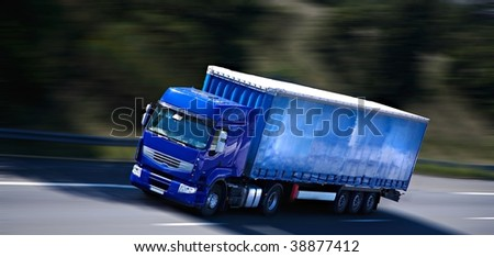 blue semi truck - stock photo