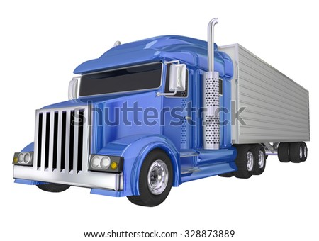 Blue semi truck front angle to illustrate travel, transportation and shipping or delivery of products over the road