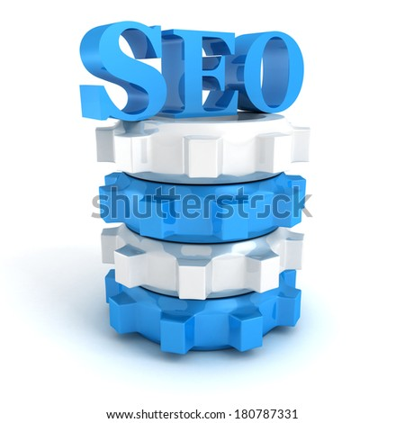 blue SEO Search Engine symbol on stack of gears on white background - stock photo