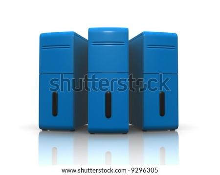 blue servers - stock photo