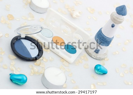 Blue set of different make-up accessories - stock photo
