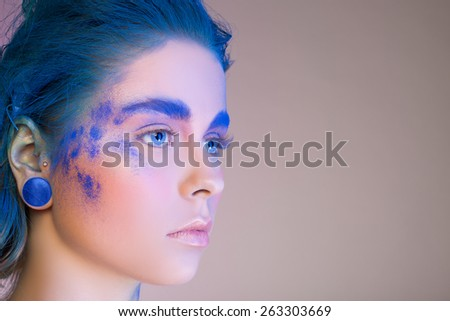 Blue shadows on the eyes. Make Up Portrait - stock photo