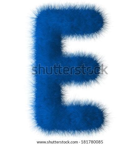 Blue shag E letter isolated on white background - stock photo
