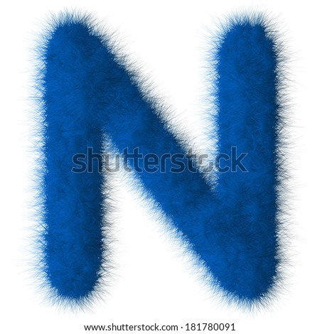 Blue shag N letter isolated on white background - stock photo