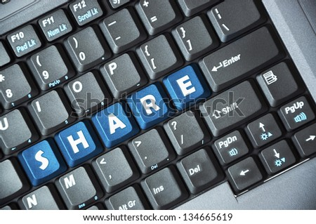 Blue share key on keyboard