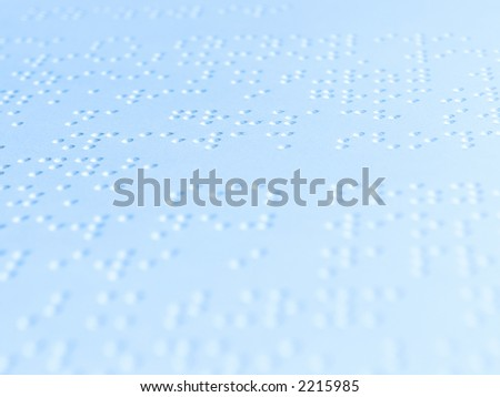 Blue sheet of paper with text in braille language - stock photo