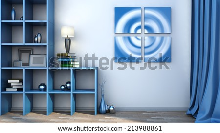 blue shelf with vases, books and lamp - stock photo