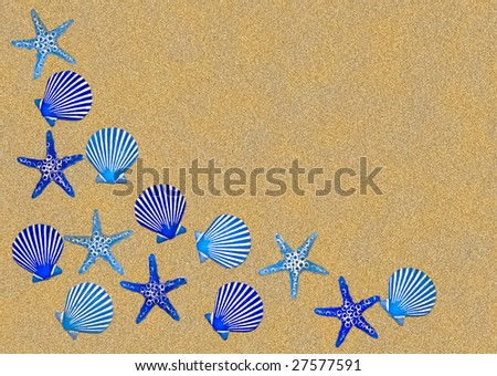 Blue shell bathroom decoration border, on a background of sand.