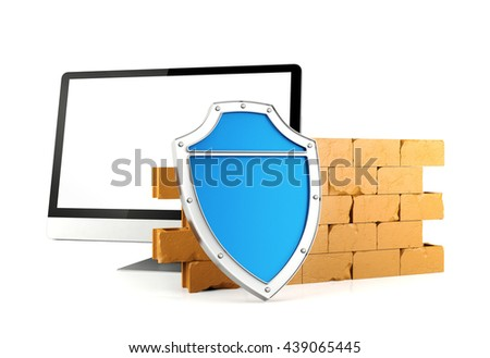Blue shield and brick wall protecting computer monitor screen, Firewall with computer monitor, computer security equipment concept, 3D rendering - stock photo