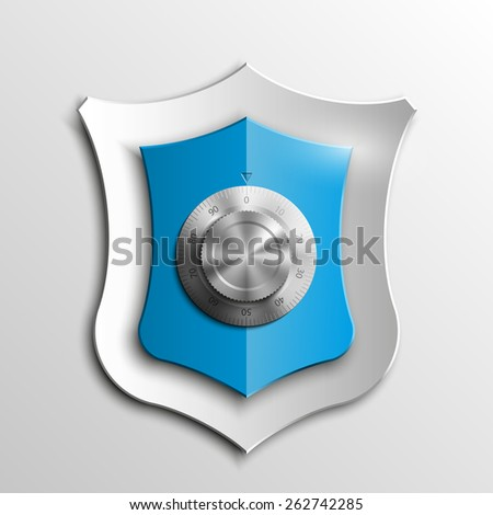 Blue shield with Combination Lock isolated on white background. Security sign - stock photo