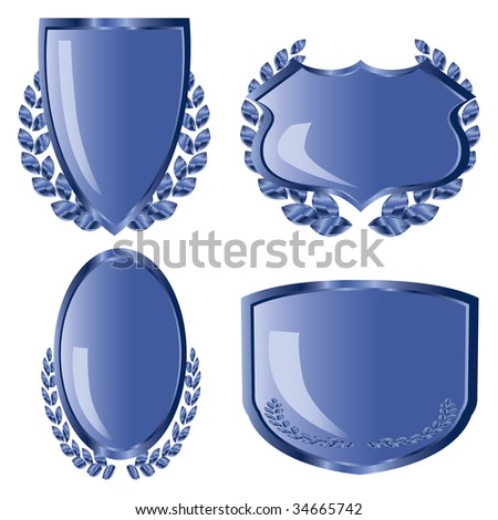 Blue shields with laurel wreath - stock photo
