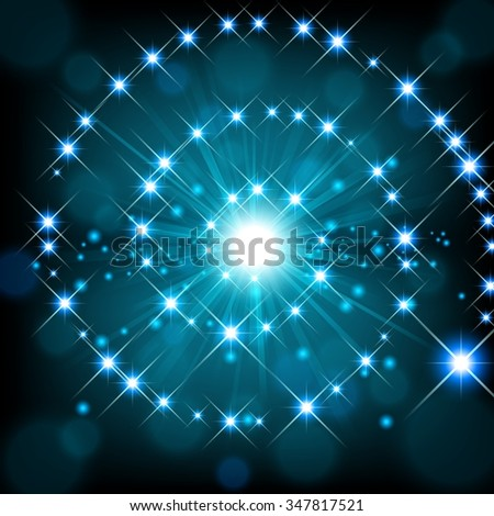 Blue shine with sparkle forming spiral background - stock photo
