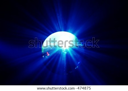 blue shining discoball / mirrorball in motion