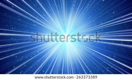 blue shining light rays and stars. computer generated abstract background  - stock photo