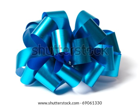 Blue shiny bow isolated on white - stock photo