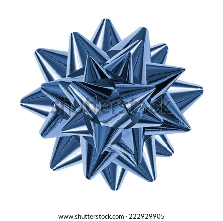 blue shiny gift bow isolated on the white - stock photo