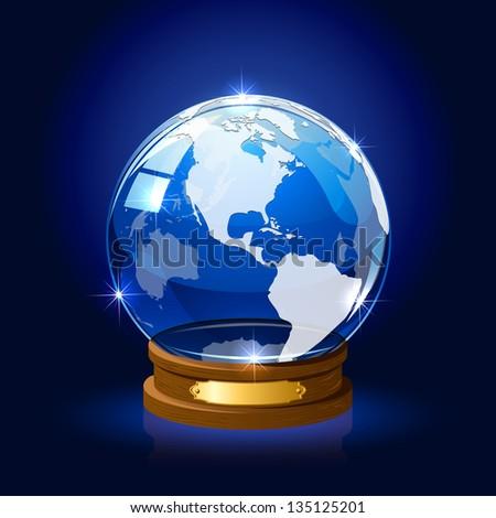 Blue shiny Globe with map on dark background, illustration. - stock photo