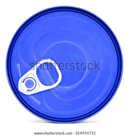 Blue shiny top of food can with pull-ring, isolated - stock photo