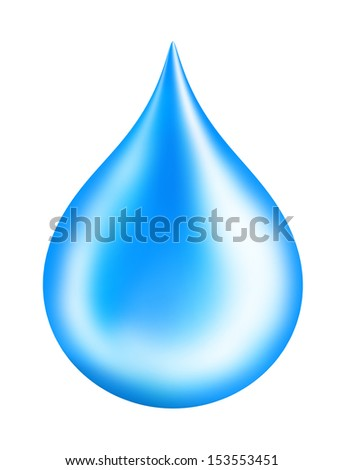 Blue shiny water drop isolated on white
