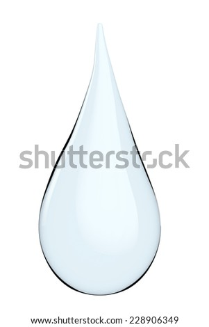Blue shiny water drop on a white background