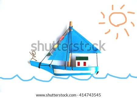blue ship model on white background with drawing sea, man and sun