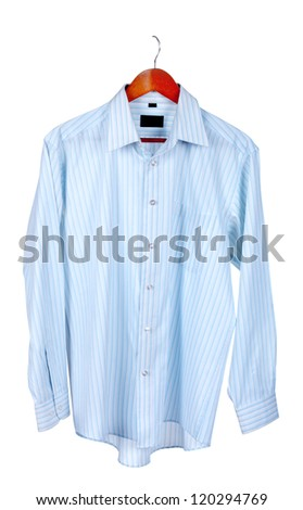 Blue shirt on wooden hanger isolated on white - stock photo