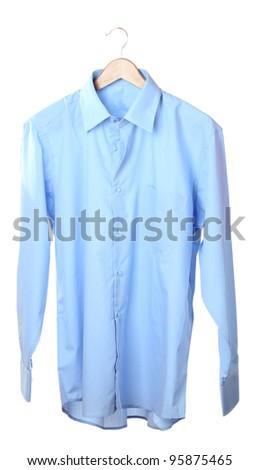Blue shirt on wooden hanger isolated on white - stock photo