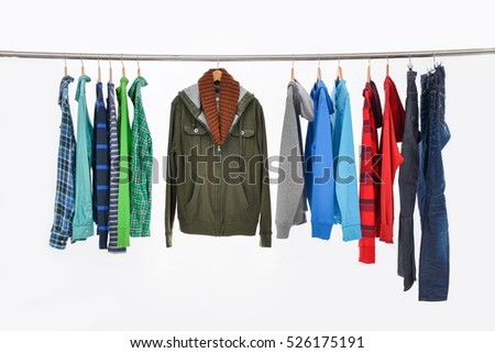 Blue shirt with different sleeved plaid cottons on hanger isolated on white background