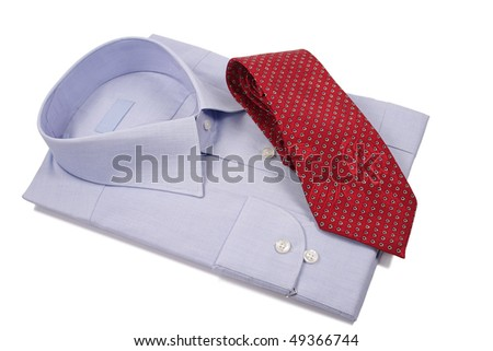 blue shirt with red tie  isolated on white - stock photo