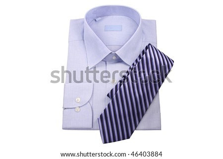 blue shirt with tie  isolated on white - stock photo