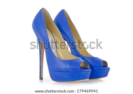 Blue shoes isolated on the white - stock photo