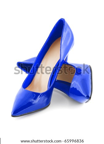 Blue shoes isolated on white background - stock photo